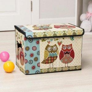 Короб для хранения с крышкой «Влюблённые совушки», 39?26?26 см