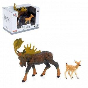 Набор животных «Лось/буйвол с детёнышем», 2 фигурки, МИКС