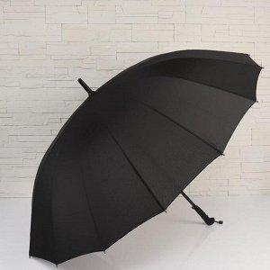 Зонт - трость полуавтоматический, 16 спиц, R = 59 см, цвет чёрный 5556371