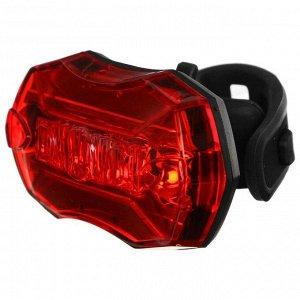 Фонарь велосипедный задний JY-6090T, 5 красных светодиодов