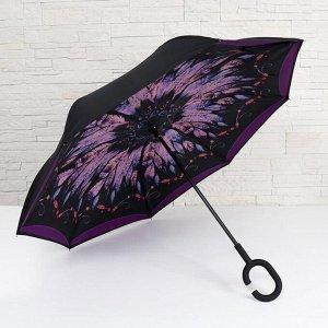 Зонт-наоборот, полуавтоматический «Перья», 8 спиц, R = 53 см, ручка кольцо, цвет МИКС