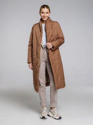 Пальто Женское утеплённое пальто из весенней коллекции 2021 года выглядит максимально уютно за счёт стёганого ромбового узора, свободного лаконичного кроя и длины миди. Пальто дополнено широким съёмны