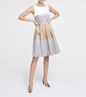 Платье, бело-серо-бежевое