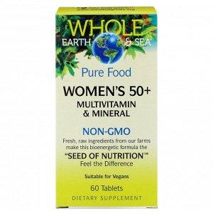 Natural Factors, Whole Earth & Sea, мультивитаминный и минеральный комплекс для женщин старше 50 лет, 60 таблеток