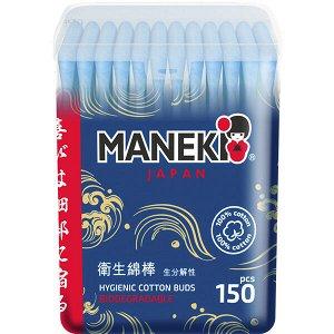 """Палочки ватные гигиенческие """"MANEKI"""" (серия Ocean) с голубым бумажным стиком, в пластиковой коробке, 150 шт./упак"""