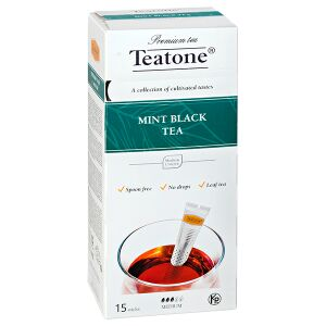 Чай чай TEATONE 'MINT BLACK' 15 стиков Чай черный с ароматом мяты Teatone в стиках для разовой заварки. Благодаря своим тонизирующим и согревающим свойствам черный чай с мятой будет хорошим помощником