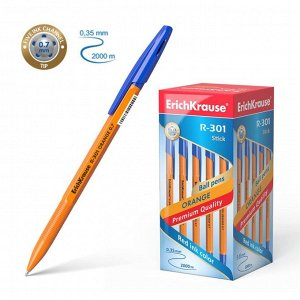 Ручка шариковая Erich Krause R-301 Orange Stick, узел 0.7 мм, чернила синие, длина линии письма 2000 метров, штрихкод на ручке