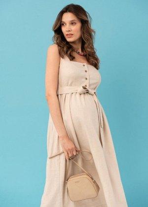 """Летнее платье-сарафан с пуговицами и поясом для беременных и кормления """"Даника""""; бежевый"""