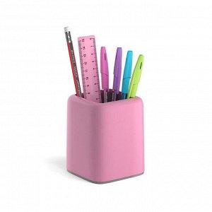 Набор настольный канцелярский 6 предметов ErichKrause Forte, Pastel, розовый с серой вставкой