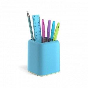 Набор настольный канцелярский 6 предметов ErichKrause Forte, Pastel, голубой с желтой вставкой