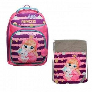 Рюкзак каркасный, Luris «Джерри 8», 36 x 27 x 20 см, наполнение: мешок для обуви, «Девочка»