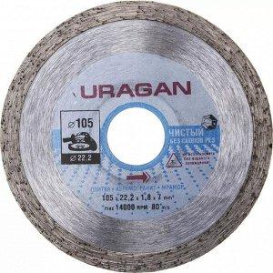 105 мм 105 мм, диск алмазный отрезной сплошной по керамограниту, мрамору, плитке, URAGAN  Диск отрезной алмазный Uragan 909-12171-105, применяются на УШМ для резки бордюрного камня, тротуарной плитки,