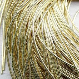 Канитель гладкая, цвет: светлое золото, размер: 1 мм, 5 грамм