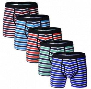 """Наборы мужских трусов (5 шт), принт """"широкие полосы"""", цвет синий, зеленый, красный, голубой, бордо"""