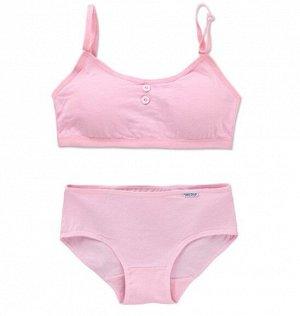 Комплект белья для подростков, декор пуговицы, цвет розовый