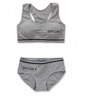 """Комплект белья для подростков, надпись """"sport"""", цвет серый"""