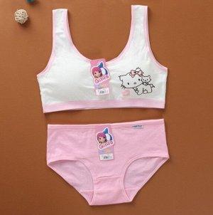 """Комплект белья для подростков, принт """"кошечки"""", цвет розовый"""