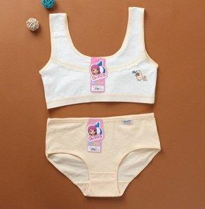 """Комплект белья для подростков, принт """"полосатый котик"""", цвет персиковый"""