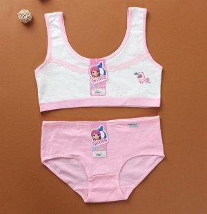 """Комплект белья для подростков, принт """"полосатый котик"""", цвет розовый"""