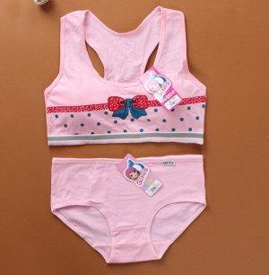 """Комплект белья для подростков, принт """"бант, горох"""", цвет розовый"""
