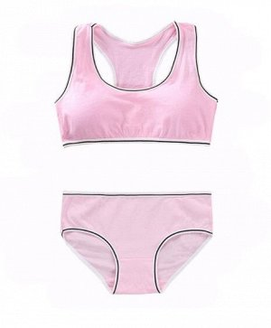Комплект белья для подростков, черная/белая окантовка, цвет розовый