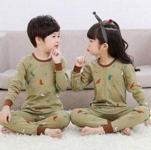 """Детская пижама с принтом """"динозавры"""", цвет хаки"""