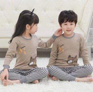 """Детская пижама с принтом """"медведь"""", цвет хаки"""