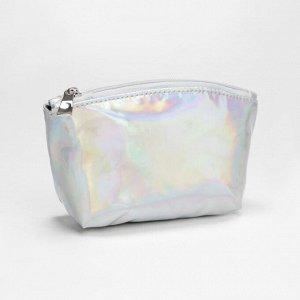 Сумка-косметичка, отдел на молнии, цвет серебро