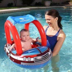 Детский надувной матрац для плаванья с навесом от солнца