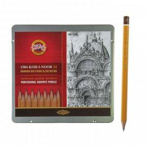 Набор карандашей чернографитных разной твердости 24 штуки Koh-i-Noor 1504 ART, 8В-10Н, в металлическом пенале