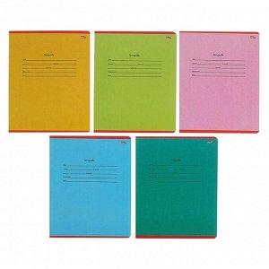 Тетрадь 12 листов в косую линейку с дополнительной горизонтальной линией «Школьная классика», картон хром-эрзац, в коробке, МИКС