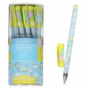 Ручка шариковая HappyWrite «Ламы», узел 0.5 мм, синие чернила, матовый корпус Silk Touch
