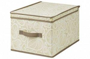 """Короб складной для хранения 30*40*25 см """"Бежевые сердца"""" + ручка"""