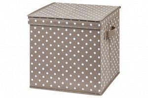 """Короб складной для хранения 31*31*31 см """"Горошек капучино"""" + 2 ручки, квадрат"""