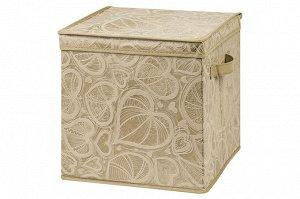 """Короб складной для хранения 31*31*31 см """"Золотое сердце"""" + 2 ручки, квадрат"""
