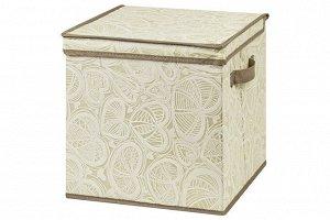 """Короб складной для хранения 31*31*31 см """"Бежевые сердца"""" + 2 ручки, квадрат"""