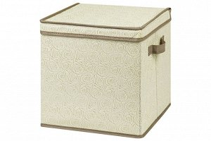 """Короб складной для хранения 31*31*31 см """"Розы на бежевом"""" + 2 ручки, квадрат"""