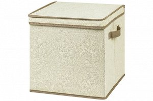 """Короб складной для хранения 31*31*31 см """"Цветочный узор на бежевом"""" + 2 ручки, квадрат"""