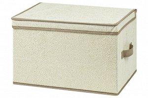 """Короб складной для хранения 40*30*25 см """"Цветочный узор на бежевом"""" + 2 ручки"""