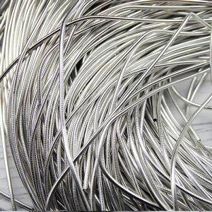 Канитель гладкая, цвет: серебро, размер: 1 мм, 5 грамм