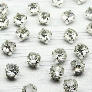 Хрустальные стразы Белые в металлических цапах (серебро), 6х6мм.