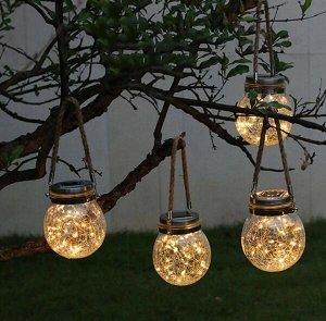 """Фигура световая для улицы """"Шар"""" подвесной 11*13 см, 20 ламп LED (на солнечной батарее), Теплый белый"""