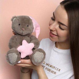 Мягкая игрушка «Мишка со звездой», цвет розовый