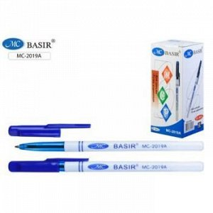 Ручка шариковая белый корпус, синий колпачок 0.7мм синяя МС-2019A Basir {Китай}