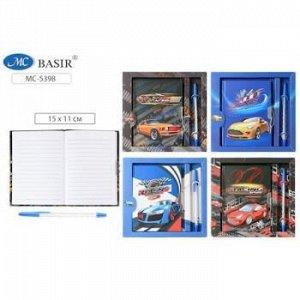 """Подарочный набор: блокнот 15х11 см 48л линия на замочке+ручка """"МАШИНЫ"""" МС-5398 Basir {Китай}"""