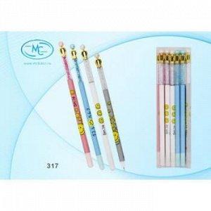 """Ручка гелевая """"Пиши-стирай"""" синяя 0.5мм """"Smile"""" с короной 317 Basir {Китай}"""