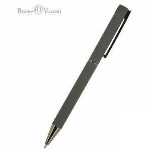 """Ручка автоматическая шариковая 1.0мм """"BERGAMO"""" синяя, серый металлический корпус 20-0246 Bruno Visconti {Китай}"""