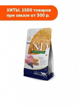 Farmina N&D Cat AG Adult Cat Lamb & Blueberry сухой низкозерновой корм для кошек Спельта/Овес/Ягненок/Черника 5кг