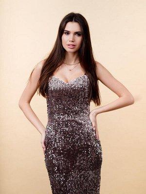 Платье футляр с широкими лямками. Цвет капучино