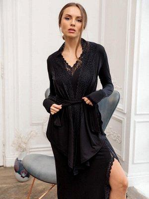 Комплект : Платье с разрезом на ноге / Кардиган с кружевом NEW. Цвет Черный